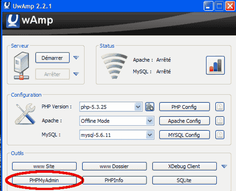 UwAmp_lancer_phpmyadmin