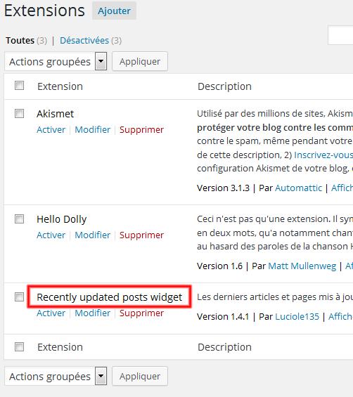 Le lien est désormais un plugin WordPress