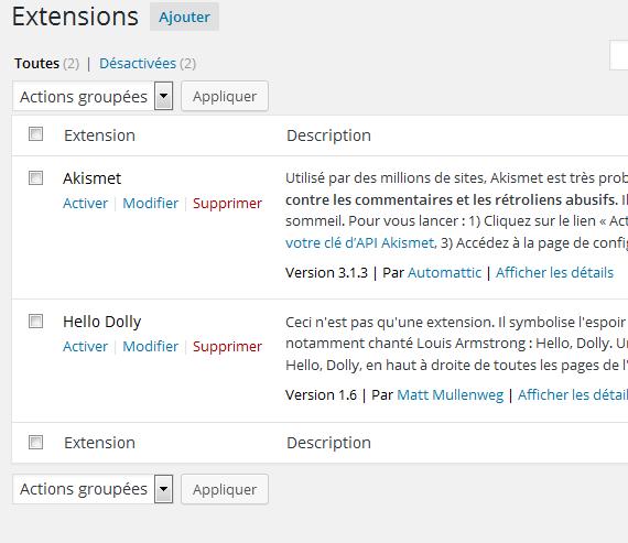 wp-repository ainsi que le plugin Recently Updated Posts Widget qu'il contient ne sont pas visibles depuis la page des extensions de WordPress.
