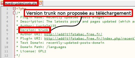 Version trunk non proposée au téléchargement